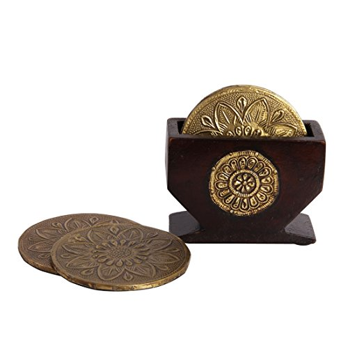 Case Set Coaster Metal - HANDICRAFTS PARADISE Men's Coaster Set Of 6 Pc With Metal Top In A Wooden Case