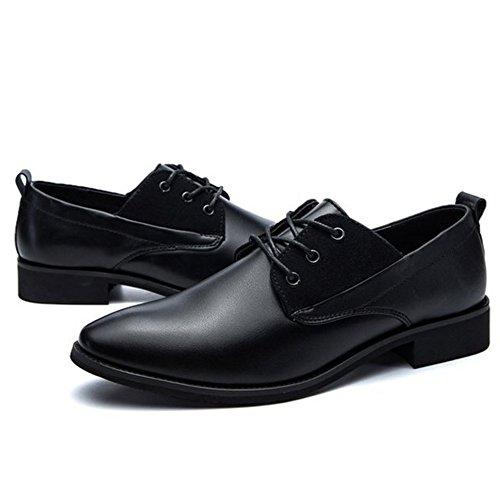 Taoffen Heren Comfort Veterschoenen Uniforme Schoenen Zwart