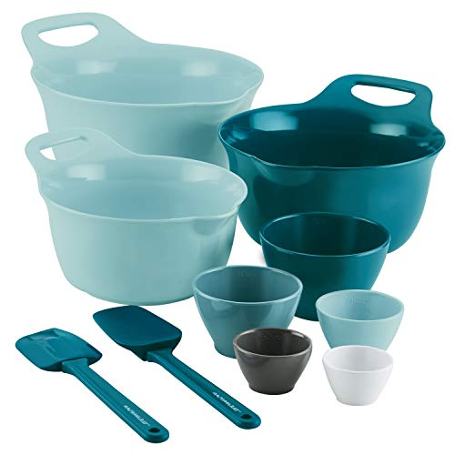 Rachael Ray 47992 10-Piece Melamine Mixing Bowl Set, Light Blue and Teal