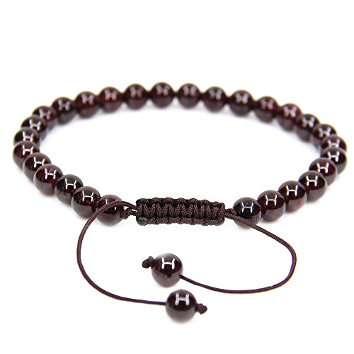 "Natural A Grade Red Garnet Gemstone 6mm Round Beads Adjustable Bracelet 7"" Unisex"