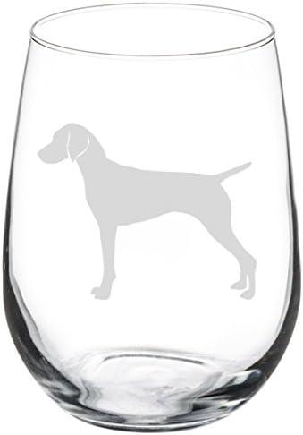 Wine Glass Goblet Vizsla 17 Oz Stemless Wine Glasses