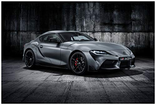"""Toyota GR Supra A90 Edition EU Spec (2019) Car Art Poster Print on 10 Mil Archival Satin Paper Silver Front Side Static View (24""""x36"""")"""