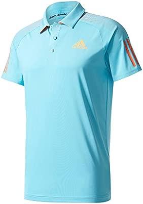 adidas Mens Tennis Barricade Polo, Samba Blue/Glow Orange, X ...