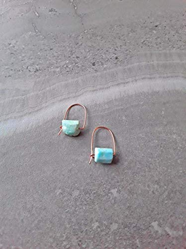 Raw Larimar Modern Minimalist Drop Hoop Earrings Rose Gold