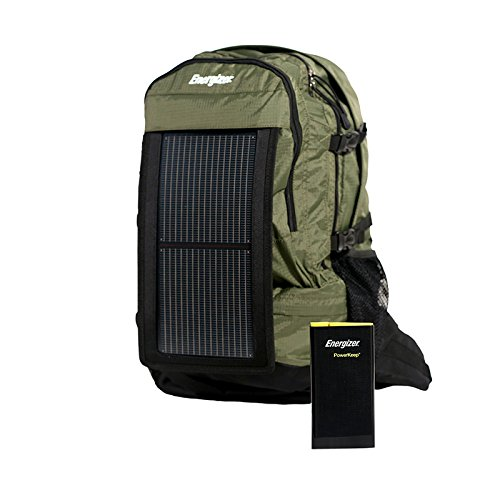 Nylon Hydration Pack - PowerKeep Energizer Wanderer, 30L Solar Backpack w/ 10000mAh Battery, Rugged and Flexible Solar Panel, powerbank, Hydration Ready (Green)