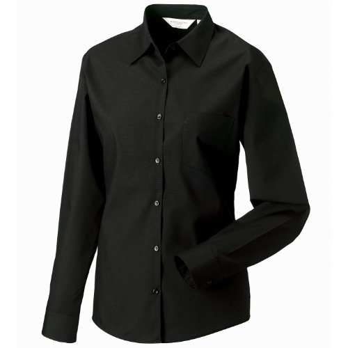 Russell Collection Damen Long Sleeve Poly Baumwolle pflegeleichte Popeline Hemd schwarz XS