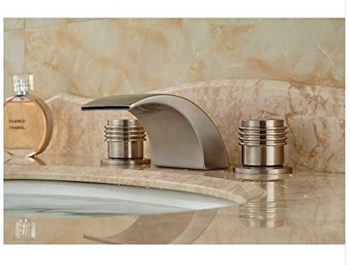 Gowe LED Waterfall Spout Bathroom Faucet Nickel Brushed Bsin Sink Mixer Tap Two Handles 2