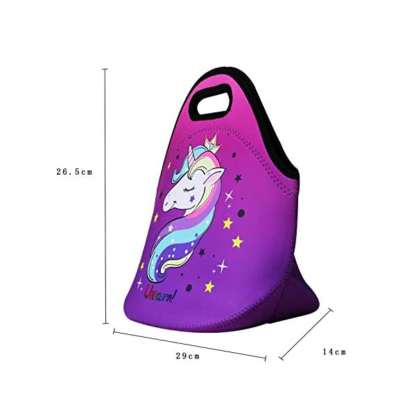 Cute Unicorn Lunch Bag for Kids, Waterproof Insulated Neoprene Lunch Tote with Zipper for School Work Outdoor (Purple002… 5