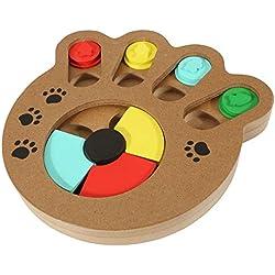 Mogoko Wooden Puppy Dog Cat Interactive Slow Feeder, Pet Mental Stimulation Hide and Seek Puzzle Toys, Animal Food Treat Dispenser