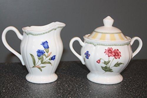NORITAKE Summer Estate Sugar Bowl with Lid & Creamer Pattern # 9212 Ireland, Yellow Striped Rim, Floral