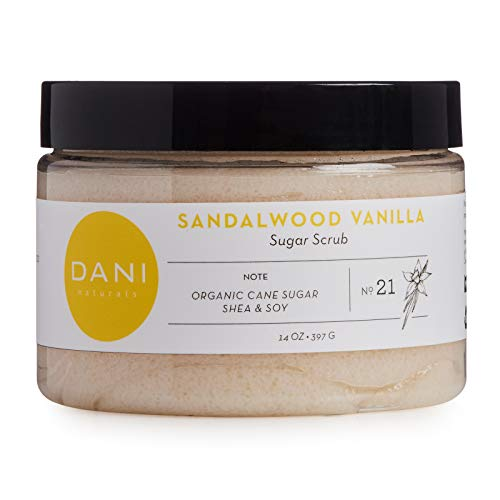 Natural Gentle Exfoliating Sugar Scrub by DANI Naturals - Sandalwood Vanilla Scented Body Polish - With Moisturizing Shea Butter and Soybean Oil - 14 Ounces