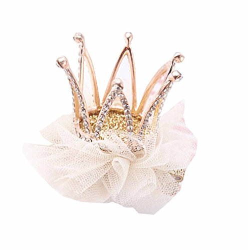 - Baby Girl Net Party Crown Headband Princess Glitter Tiara Hair Accessories (White)