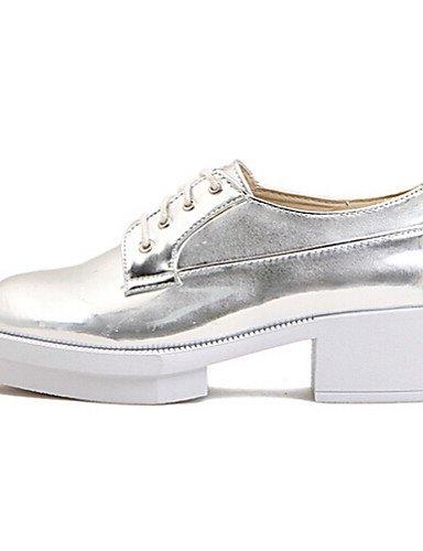 Eu39 Similicuir Chaussures Njx us8 Arrondi Or Plateforme Cn39 Argent Bout Uk6 Silver Femme Richelieu Décontracté zqwfqn7T