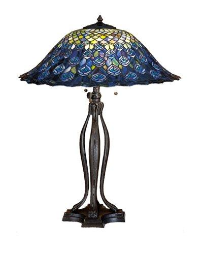 Tiffany Peacock Feather Table Lamp - Meyda Home Indoor Bedroom Decorative Lighting 30