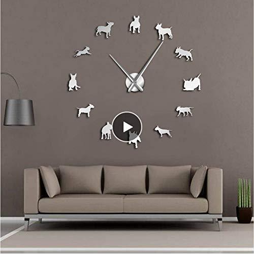 Bull Mirror Metal - Lifme Bull Terrier Dog Wall Art DIY Large Wall Clock Dog Breed Pug Big Needle Clock Watch Pet Shop Decor Gift for Bull Terrier Lovers,37Inch