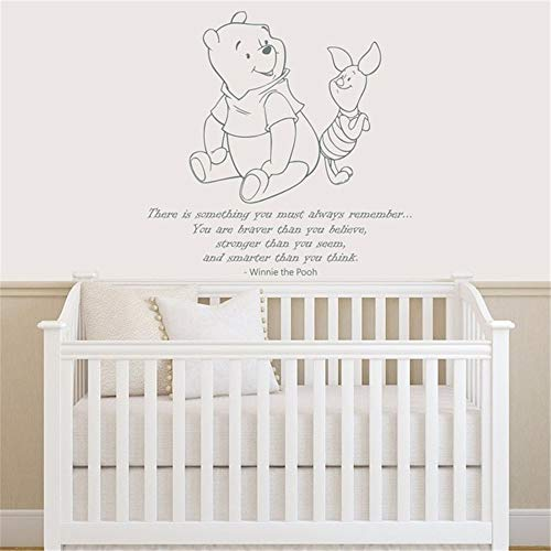 Winnie The Pooh Quote Wall Decal Vinyl Sticker Decals Quotes Braver Stronger Smarter Wall Decor Nursery Baby Room Kid Bedroom]()