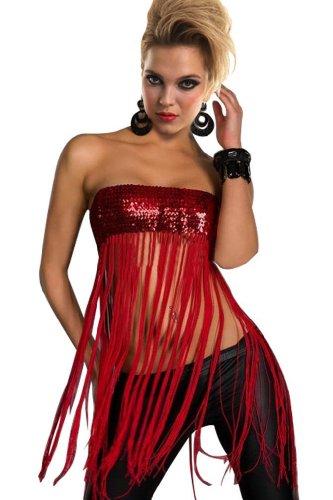 Amour Women's Erotic Sequin Long Fringe Tassel Tube Mini Dress