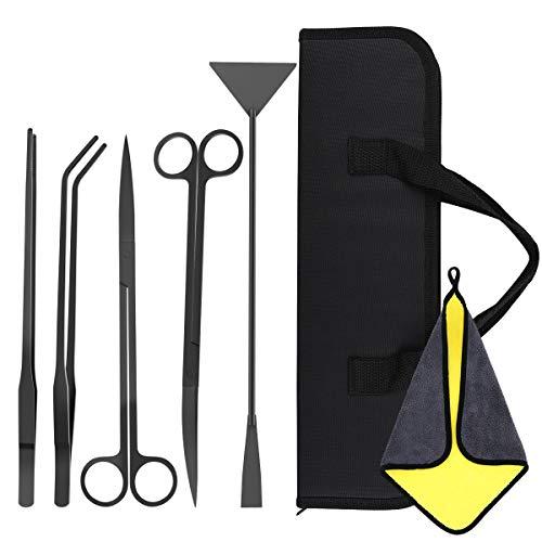 Vavopaw 5 Pzs Herramientas De Acuarios De Acero Inoxidable Kits Para Acuarios Con 2 Tijeras 2 Pinzas Espatula Bolsa De Almacenamiento Y Toalla Absorbente Para Planta Acuatica Negro