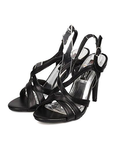Dbdk Fa95 Femme Similicuir Bout Ouvert Sandale À Bride Arrière Style Stiletto - Noir