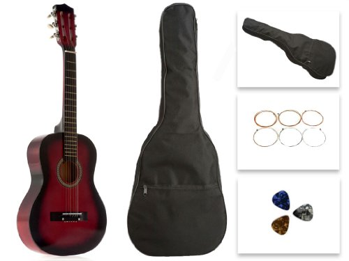 Star Kids Acoustic Toy Guitar 31 Inches Red with Bag, Strings & Picks, CG5126-BSP-RD by Star