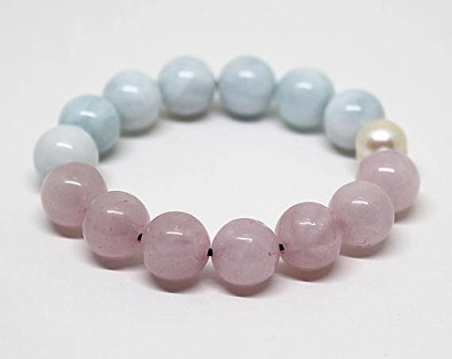 JP_Beads A Grade Milky Aquamarine, Rose Quartz Bracelet, Genuine Aquamarine Bracelet, Bracelet for Men & Women/Gemstone Yoga Chakra Stack Bracelet 12 MM