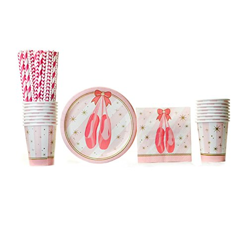 (Twinkle Toes Party Supply Pack for 16 Guests: Straws, Dessert Plates, Beverage Napkins, and Cups)