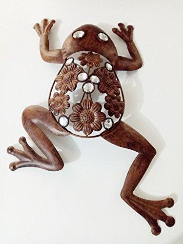 17'' Retro Iron Frog Hanger Yard Outdoor Lawn Wall Art Metal Frog Garden Decor (Frog Art Metal)