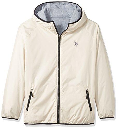 U.S. Polo Assn. Men's Standard Reversible Poly Shell to Fleece Hooded Jacket, Oatmeal 6396, 2X