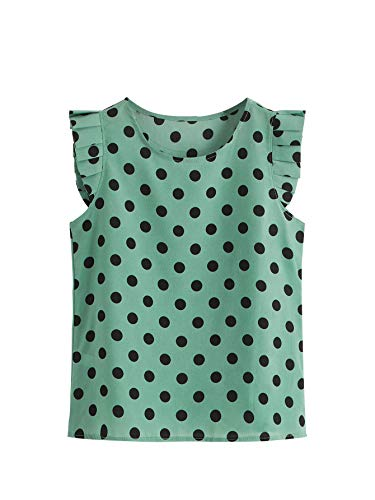 SheIn Women's Casual Frill Trim Cap Sleeve Polka Dot Blouse Top Shirts Green L ()