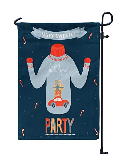 (Soopat Let It Snow Seasonal Flag, Christmas and Happy New Year Year Invitation Ugly Weatherproof Double Stitched Outdoor Decorative Flags for Garden Yard 12''L x 18''W Welcome Garden)