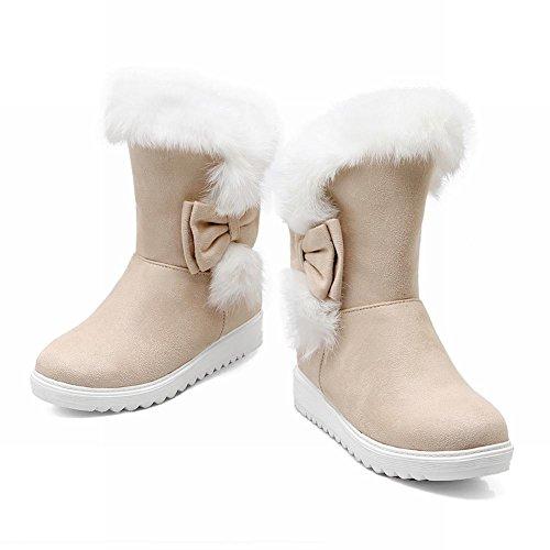 Carolbar Womens Fashion Winter Warm Bows Faux Fur Sweet Cute Lovely Snow Boots Beige 4vJu6U02