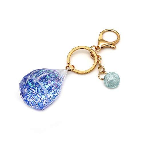 Senauto Bling Quicksand Keychain Keyring for Car Key Home Key Women Bag Purse Gift (Blue)