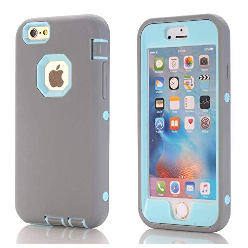 iPhone 6 Case,iPhone 6s Case,3in1 Shield Series Heavy Duty Hybrid Hard PC Soft Silicone Combo Hybrid Defender High Impact Body Armor Box Case for Apple iPhone 6/6S 4.7-inch (Gray-Sky Blue)