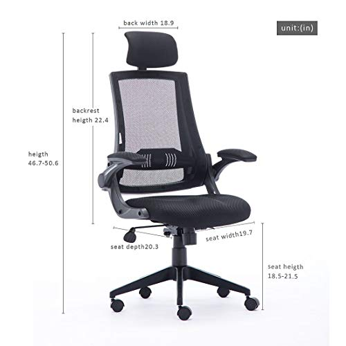 High Back Mesh Office Chair - Ergonomic Design of Computer Desk Chair with Lumbar and Neck Support Color Black Photo #2
