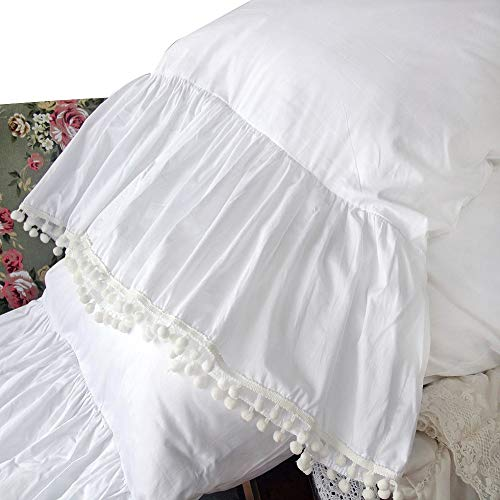 Queen's House Ruffle Pillowcases Pom Poms Shams White Pillow Covers King Set of 2-Style -