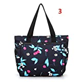 Waterproof Nylon Shopping Bag Floral Print Women Shoulder Handbags 3 one size