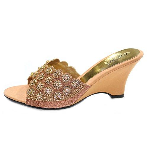 Wear & Walk UK - Sandalias de vestir de Satén para mujer Rosa - Peach