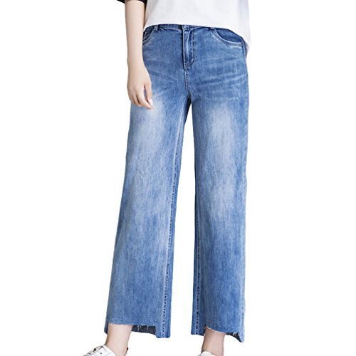 Xinwcanga Femme Taille Haute Jeans Large Loose Evase Confortable Casual Grande Taille Trousers Lumire Bleu