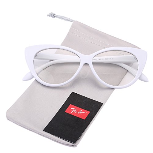 Pro Acme Vintage Inspired Fashion Mod Chic High Pointed Clear Lens Cat Eye Glasses - Prescription White Frame Glasses