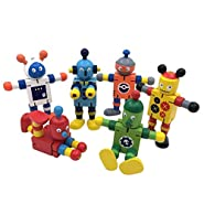 Wooden Robot Toys Green Wooden boy Toys,Toddlers Fidget Toy,Bending-Shaped Toy Robot Playing Set(6 Pack)
