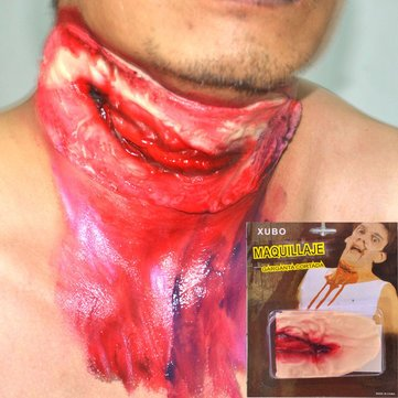 Festival Gifts Party Supplies Halloween Supplies - Props Slit Throat Cut Neck Fake Wound Scar Head Injury Trick Decoration Party Decor - 1 x Halloween Props Slit Throat Cut Neck Fake Wound Sc]()