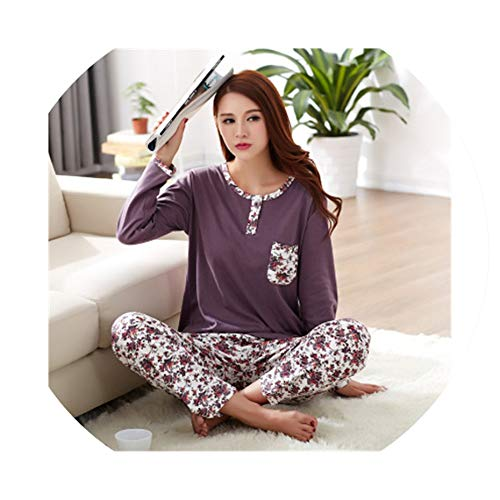 4f0d2cfa8c7 Fashion Pajamas for Women's Sleepwear Cardigan Cotton Spring and Autumn  Pajama Set,Q8120,L