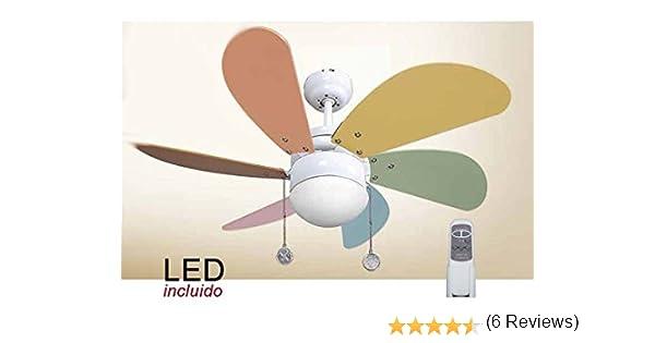 Pack Ventilador infantil de LED y Mando a distancia color pastel ...
