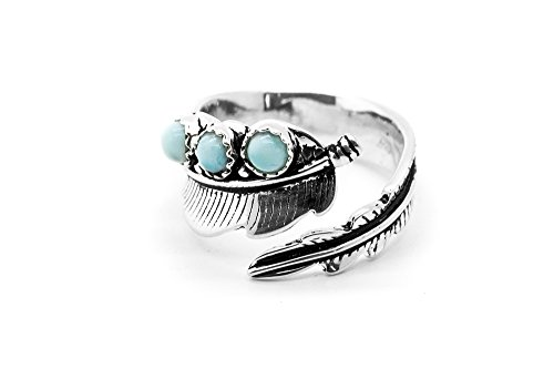 Tuoke Larimar Sterling Silver Ring Adjustable Leaf Wrap Open Ring Fashion Natural Larimar Jewelry for Women and Girl