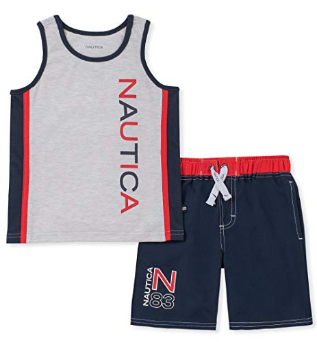 Nautica Sets (KHQ) Boys' Little 2 Pieces Tank Top with Swim Shorts Set, Gray/Navy 5