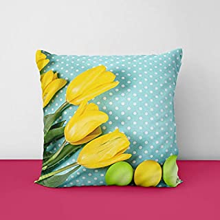 41%2BFdJSFr5L. SS320 Easter Eggs Yellow Square Design Printed Cushion Cover