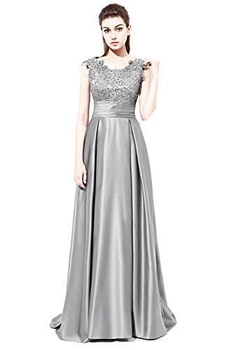 Lace Prom Appliques Yinyyinhs Evening Women's Beaded Long Satin Dresses Silver Gowns qU1Cx41