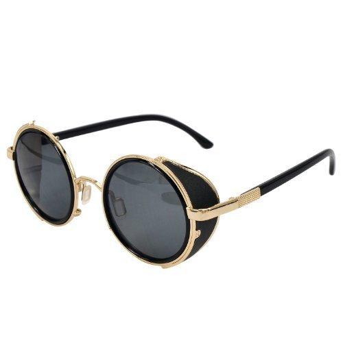 Ucspai Classic Sidestreet Crosswalk Sidecups Steampunk Sunglasses Gold&black - Sunglasses For Blind