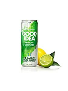 Good Idea Sparkling Lemon Lime Water (24 Count); The Swedish Sugar Buster. Unsweetened, and all Natural.