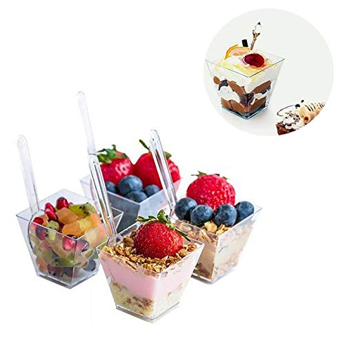 (Stablepower 60ml Plastic Dessert Cups with Spoons - 50/100 pcs Dessert Shooters for Chocolate Desserts, Appetizers, Dessert Samplers, Dessert Shot Glasses & More (50))